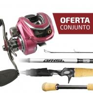 CONJUNTO CARRETILHA VENATOR PINK + VARA BRISA BR-C562M